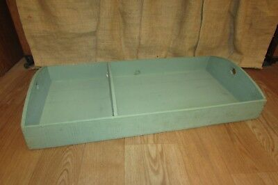 Vintage Rustic Wooden Green Farmhouse Garden Divided Tray Tool Tote Caddy #3080