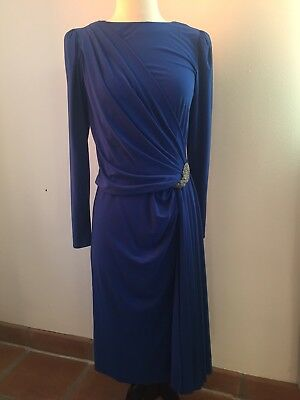 Vintage 80s Blue Evening Dress 30s Inspired Drop Waist Art Deco Beaded XS