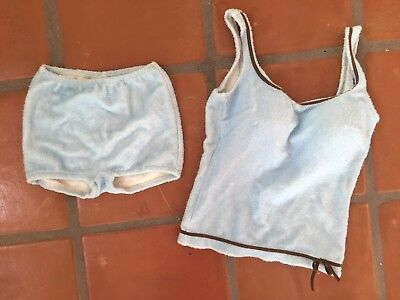 Vintage 70s Terry Cloth Baby Blue Brown 2 Piece Swimsuit Catalina Size Small