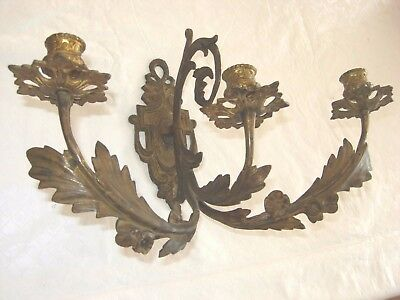 Antique Bronze/Brass Pair Wall Sconces