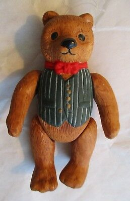 Vintage ~ Dept. 56 ~ Teddy Bear Porcelain Ornament with Moveable / Jointed Limbs
