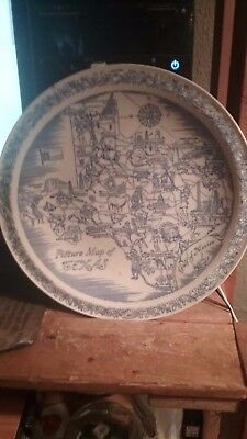 Picture map of Texas plate by Vernon kilns