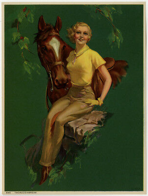 Vintage 1938 Roy Best Pin-Up Print Blonde w/ Horse Art Deco Thoroughbreds Rare