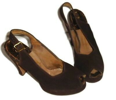 Vintage 1940's Brown Suede Modette Heels Shoes Slingback Peep Toe