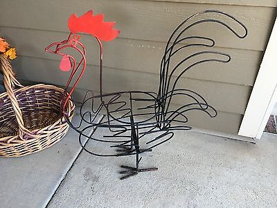 Large Hand Made Vintage Wrought Iron & Steel ROOSTER Planter Sculpture