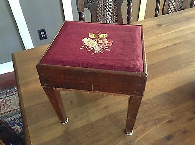 Antique Handmade Square Shape Solid Wood & Needlepoint Footstool