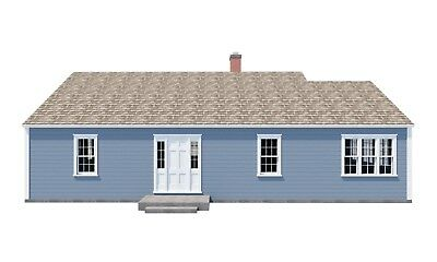 3 Bedroom Farmhouse Plans DIY Farm House Country Home 1248 sq/ft Build Your Own