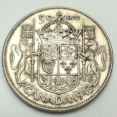 1943 Close 3 Canada 50 Fifty Cents Silver 800 Circulated Canadian Coin D370