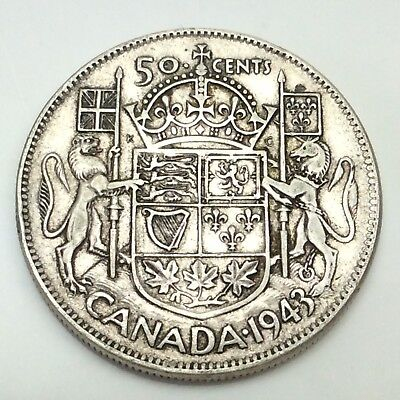 1943 Canada 50 Fifty Cents Wide Date Silver 800 Circulated Canadian Coin D371