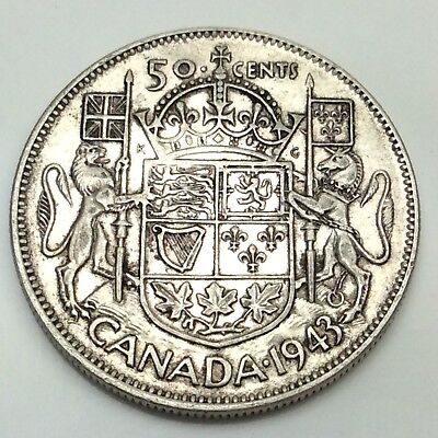 1943 Canada 50 Fifty Cents Wide Date Silver 800 Circulated Canadian Coin D372