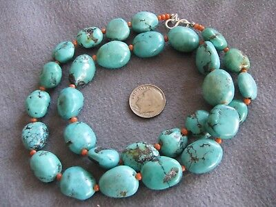 "21"" Vintage Natural Turquoise Coral Bead Necklace S/S Clasp  74.6 Grams"