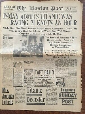 4/20/1912 ORIGINAL VINTAGE Boston Post with articles/photos of Titanic disaster