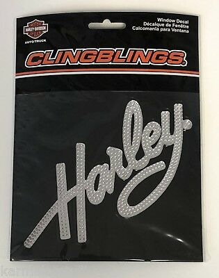 Harley-Davidson Plastic Script Clingblings Window Decal NEW