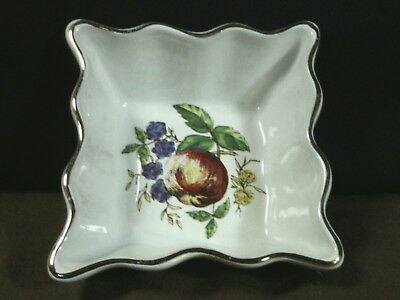 Lovely Vtg. Loucarte Portugal Pottery Hand Painted Floral Square Trinket Dish