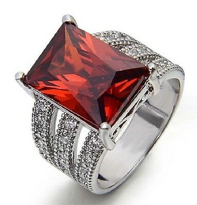 NEUF_T 56-57_Argent 925 Massif_CZ Grenat Rouge_Bague Femme/Homme_Red Ring 7,5-8