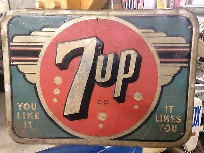 Early Art Deco Metal 7up Sign