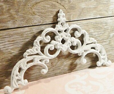 Cast Metal/Wall Decor/Pediment/Topper/Scroll/Ornate/White/Shabby Cottage Chic