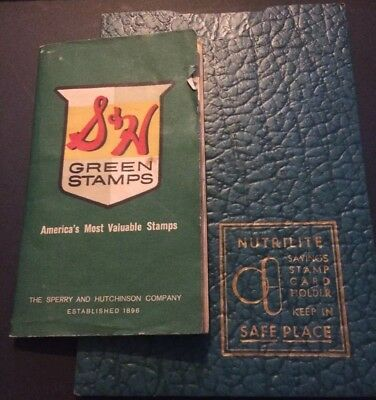 S & H Green Stamp Booklet 1962 & folder 444 stamps inside Sperry & Hutchinson