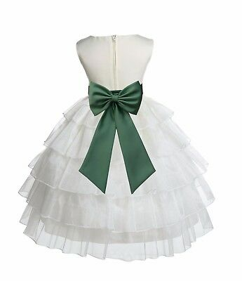 Tired Organza ivory Flower Girl Dress Wedding Pageant Baptism Summer Easter New
