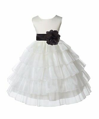 Tired Organza ivory Flower Girl Dress Wedding Pageant Prom Toddler Communion New