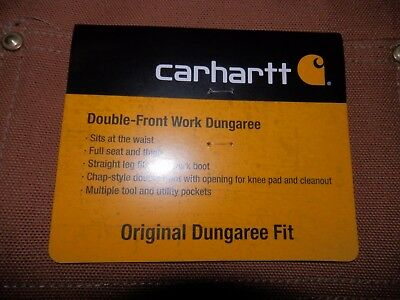 Carhartt Double Front Work Dungaree Pants Bo1 Brown Size 42X34