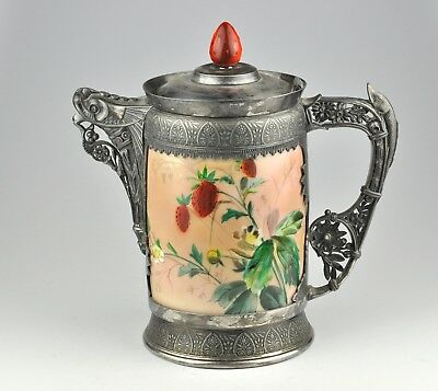 Large jug, pitcher by Simpson, Hall, Miller & Co - silver plate, porcelain RARE