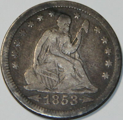 1853-P Seated Liberty Quarter Arrows and Rays [SN02]