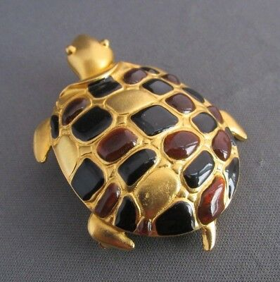 Vintage Donald Stannard Gold Tone Enamel 3D Sea Turtle Pin Brooch 34.2G