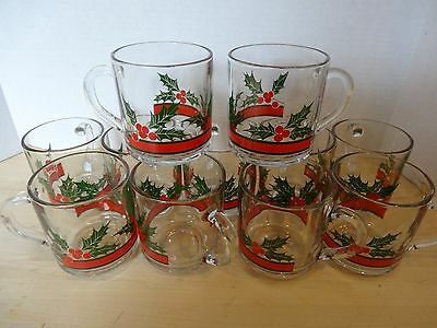 Libbey Holly and Berries Glass Mugs Set of 11