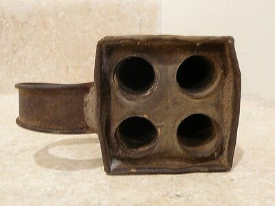 Early American Antique Primitive Rustic Tin 4 Candle Mold Handle Aafa
