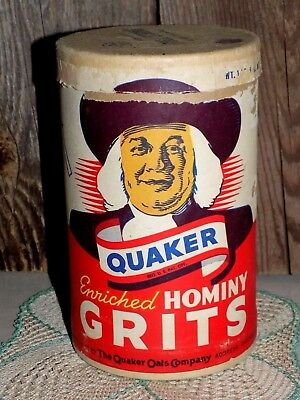 Vtg AnTiQue QUAKER HOMiNY GRiTS cardboard TiN QuaKer OaTs CompanY Chicago Recipe