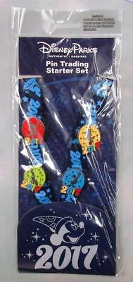 Disney Park 2017 Sorcerer Mickey Minnie Donald Pluto Lanyard & Pin Booster Set