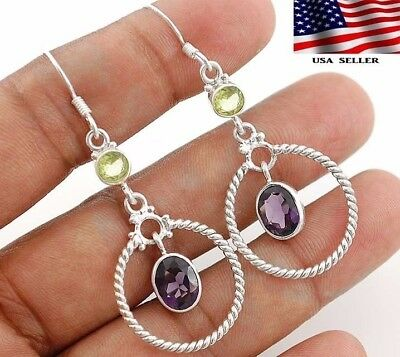 "3CT Amethyst 925 Solid Sterling Silver Earrings Jewelry 2 1/5"" Long, A4-4"