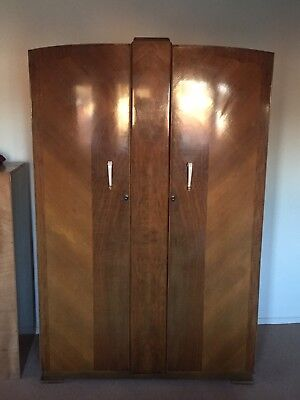 Large Antique Art Deco Vintage Wooden Wardrobe