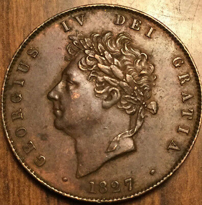 1827 Uk Gb Great Britain Halfpenny Truly Magnificent Example !