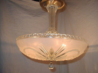 Vtg Art Deco Antique Floral Glass Shade Crystal Chandelier Ceiling Light Fixture