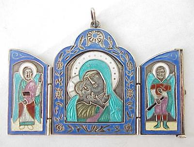 19c.  RUSSIAN IMPERIAL ORTHODOX SILVER 84 ENAMEL TRAVEL TRIPTYCH ICON GOLD CROSS