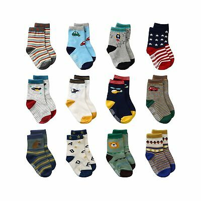 LAISOR 12 Pairs Assorted Non-Skid Ankle Cotton Socks with Grip For Kids Toddl...