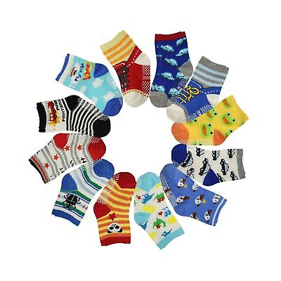 12 Pairs Anti Slip Baby Kids Socks Ankle Toddler Non skid Soft Cotton Assorte...
