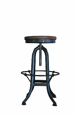 Rustic Recycled French Industrial Elm Wood and Iron Bar Kitchen Stools
