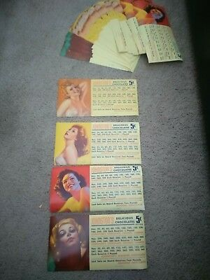 Large Lot Johnston Chocolates Pin Up Girl Punchboard Labels