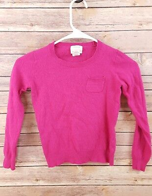 Crewcuts Girls Size 10 Hot Pink Merino Wool Pocket Sweater Crewneck Long Sleeve
