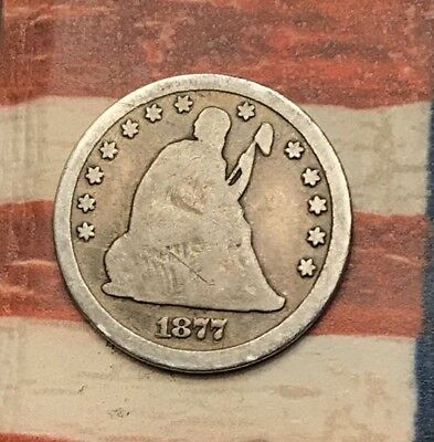 1877-CC 25C Seated Liberty Quarter 90% Silver Vintage US Coin #ET10 Sharp Appeal