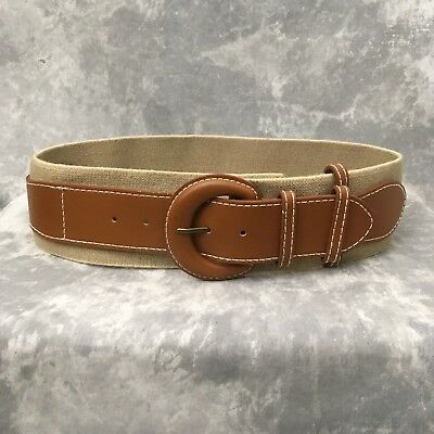 OLD NAVY Women's Belt Surcingle Stretch Elastic Wide Tan Large Buckle Open Size
