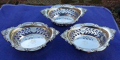 Lot of 3 Old Antique Vtg Gorham A4780 Sterling Silver Nut Dishes Set MH Monogram