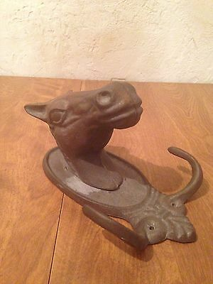 Vintage Cast Iron Horse Equestrian Western Wall Coat/Hat Hook Farm Antique Tack
