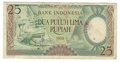1958 Indonesia 25 Rupiah Currency Note- No Pinholes - As Shown In Scans  (UU138)