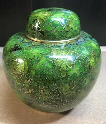Beautiful Vintage Chinese Green Floral Cloisonne And Brass Ginger Jar