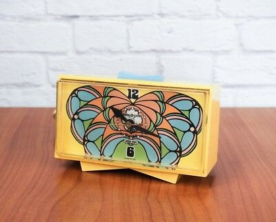 RARE Vintage 60s Peter Max Psychedelic Yellow Butterfly Snooze Alarm Clock by GE