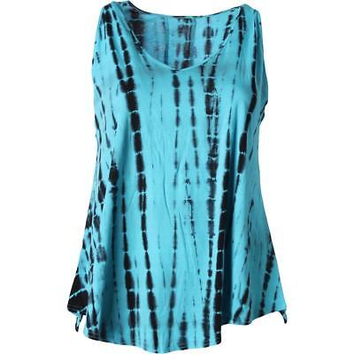 The Balance Collection 4733 Womens Blue Knit Tank Top Athletic Plus 1X BHFO